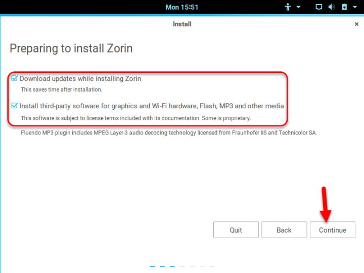 Preparing to install Zorin