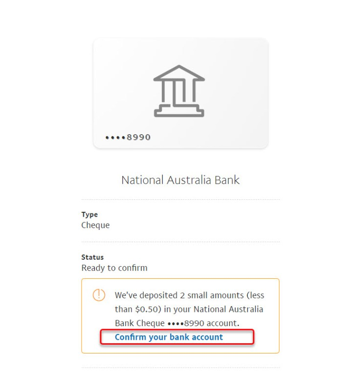 Confirm your bank