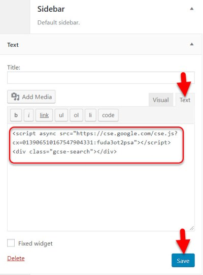 Copy the Google custom search code