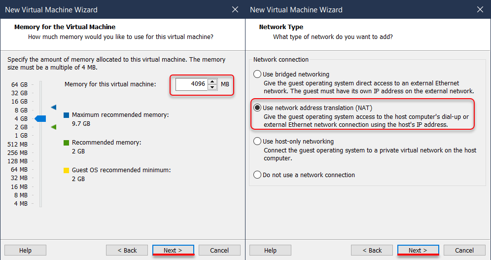 Increase Memory size & Network Type
