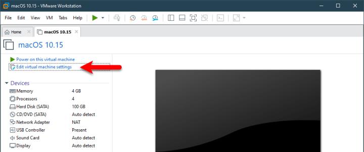 Edit virtual machine setting
