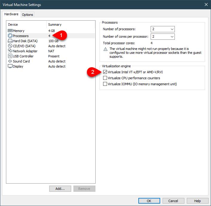 Virtualize Intel VT-x/EPT or AMD-V/RVI