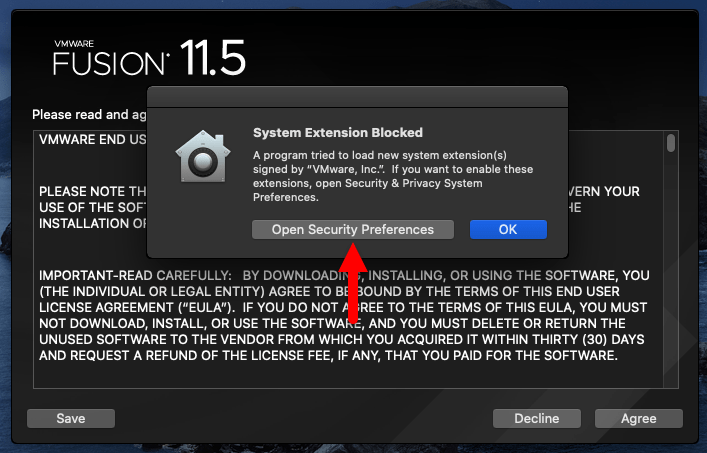 Open Security Preferences