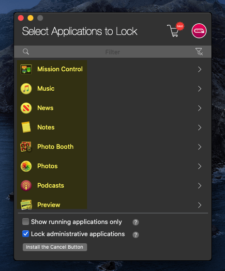 Select the App you want to lock
