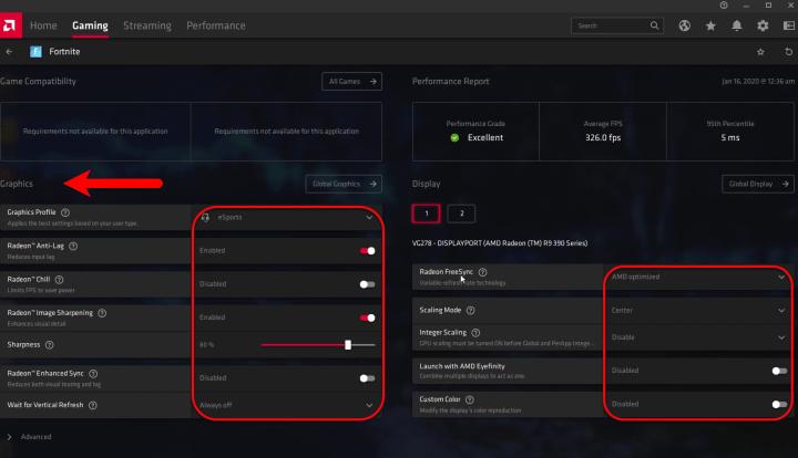 Global Graphics and Global Display settings