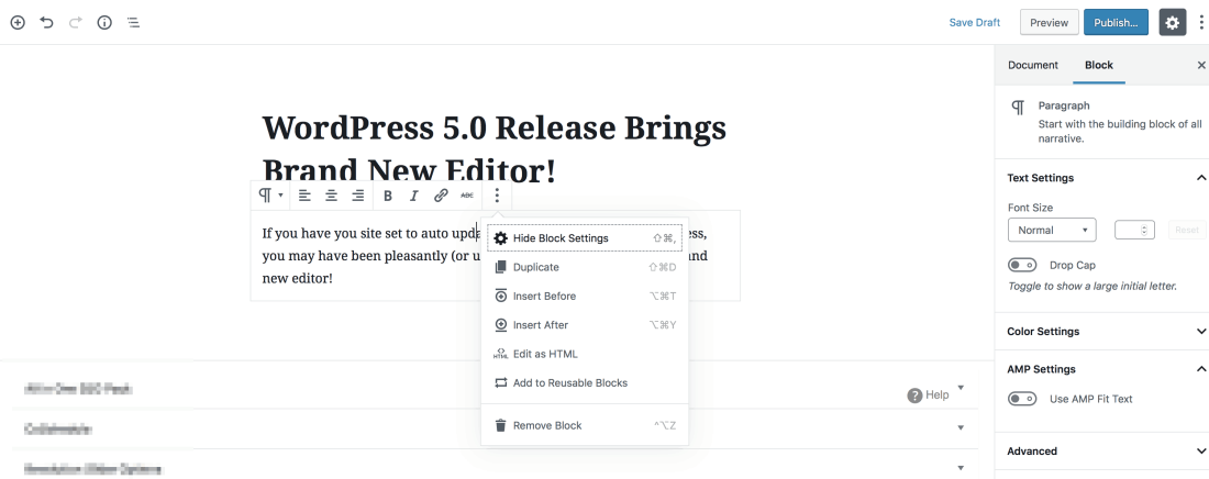 new WordPress block editor