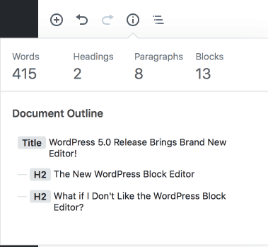 wordpress 5.0 block editor word count