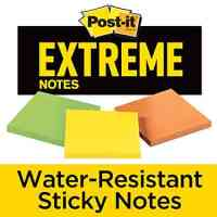 Post-it Extreme Notes, Green, Orange, Yellow,  Water Resistant Sticky Notes, 3 in x 3 in, 3 Pads/Pack, 45 Sheets/Pad