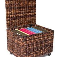 BIRDROCK HOME Seagrass Rolling File Cabinet - Espresso