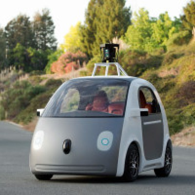 Early prototype of Google's self driving car constructed by them