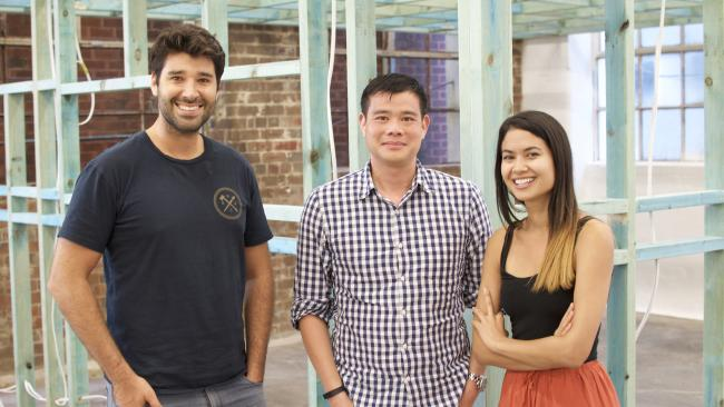 Canva board member Wesley Chan (centre) with co-founders Cliff Obrecht and Melanie Perkins. Photo: Mick Evans/ theaustralian.com.au