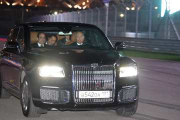 Putin driving Aurus Senat on F1 track