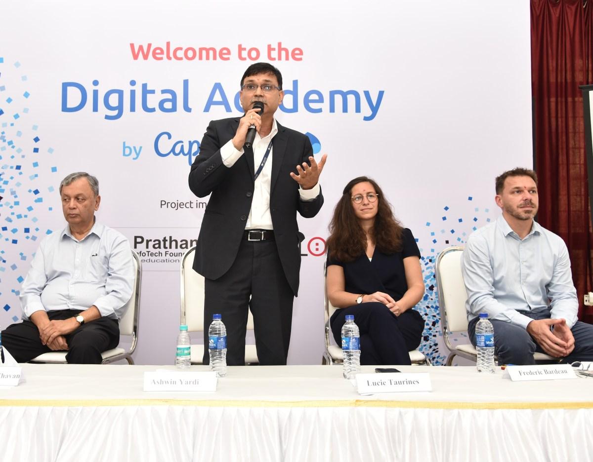 Ashwin Yardi - CEO of Capgemini India addressing media & students during launch of Digital Academy.