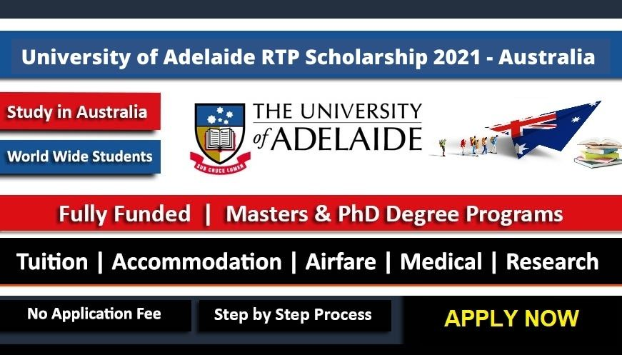 Fully Funded University of Adelaide Australian Government Research Scholarship 2021