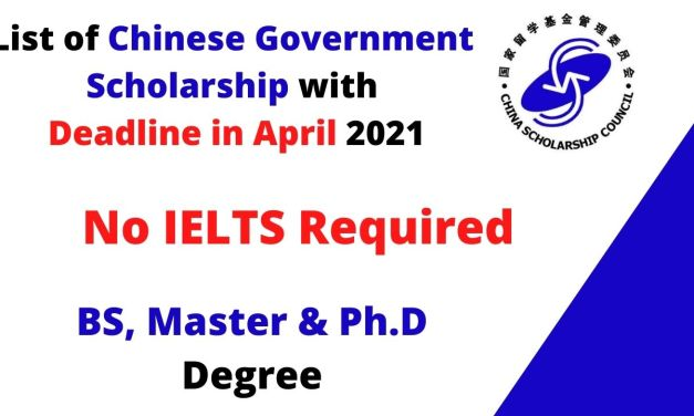 List of Chinese Government Scholarships Deadline in April 2021 | Fully Funded
