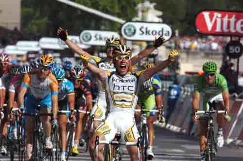HTC's Mark Cavendish wins a stage of the Tour de France