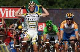 The HTC-Columbia team cross the line in the Tour de France