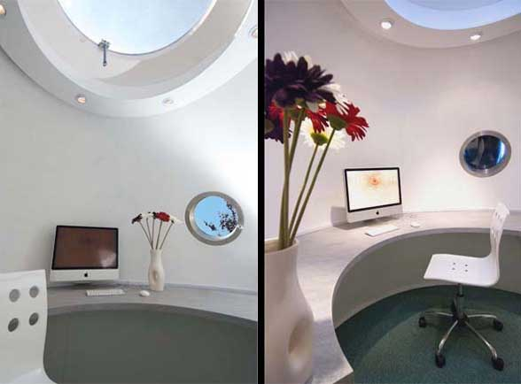 Archipod's The Pod, two views of the interior