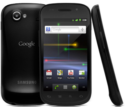 Google Nexus S smartphone, front, back and side view