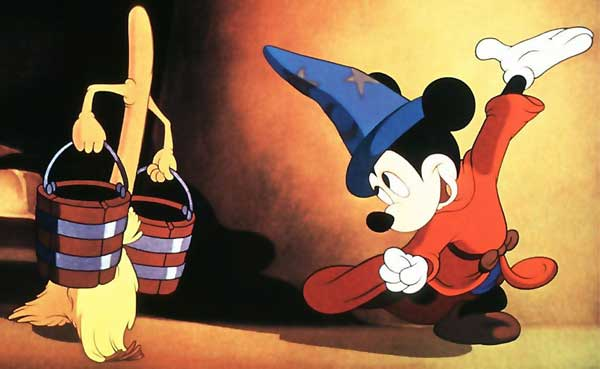 A still from the Sorcerer's Apprentice segment of Fantasia, featuring Mickey Mouse and a magical broom