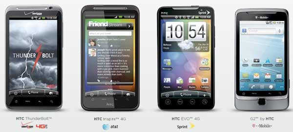 HTC Thunderbolt, HTC Inspire 4G, HTC Evo Shift 4G