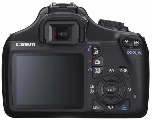 Canon EOS 1100D digital SLR camera, rear