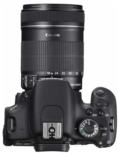 Canon EOS 600D digital SLR camera, top view