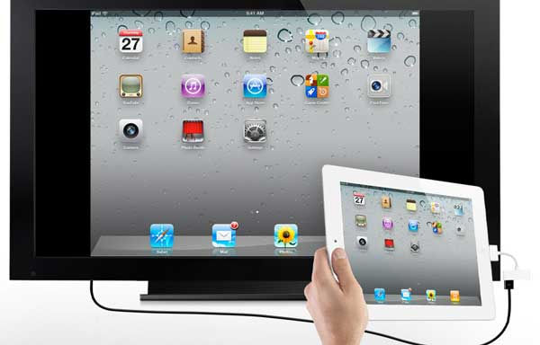 The iPad 2 mirrored on a big screen TV