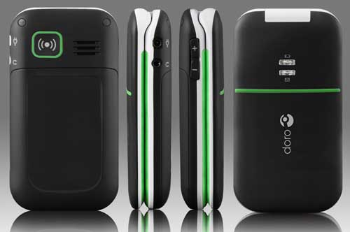 Doro PhoneEasy 410s gsm, front, back and side views