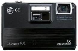 GE's PJ1 digital camera with in-built pico projector - front view