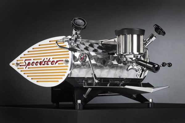Kees Van Der Westen Speedster coffee machine, yellow, front angle