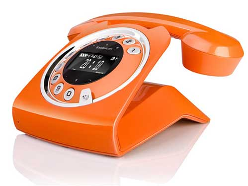 Sagemcom Sixty cordless phone, orange, front angle