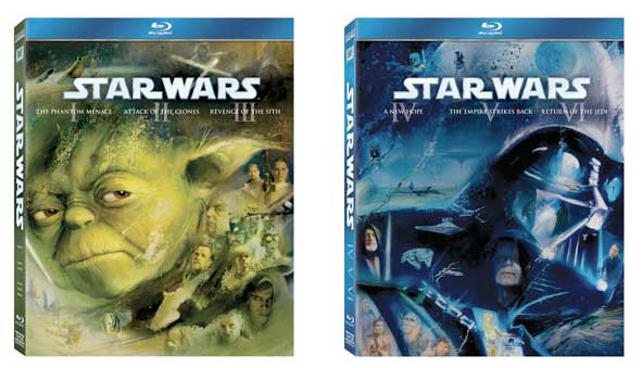 Star Wars on Blu-ray - boxes for Episodes 1 - III and IV - VI