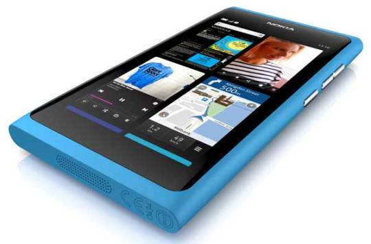 Nokia N9, front angle shot of the cyan colour