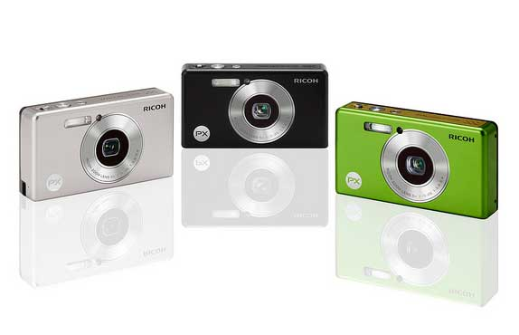 Ricoh PX digital camera  - silver, black, green