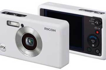 Ricoh PX digital camera in white, front and back views