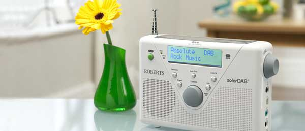 Roberts SolarDAB2 digital radio, white, on kitchen bench
