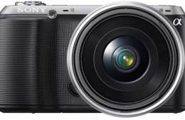 Sony NEX-C3 digital camera, black, front view