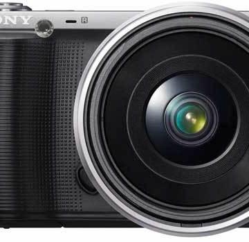 Sony NEX-C3 digital camera, black, front view