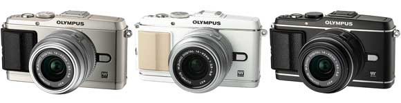 Olympus PEN E-P3 digital camera - colours and interchangeable grips