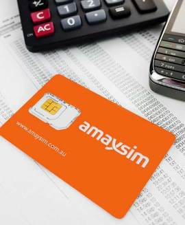 amaysim SIM card with calculator and BlackBerry phone
