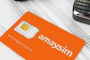 amaysim SIM card with calculator and BlackBerry phone