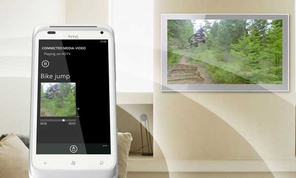HTC Radar smartphone, showing its content on aTV
