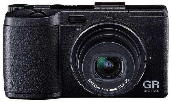 Ricoh GR Digital IV digital camera, black, front view