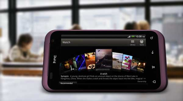 HTC Rhyme smartphone, video screen