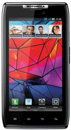 Motorola RAZR, front view, homescreen