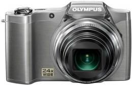 Olympus SZ-14 digital camera, silver, front view