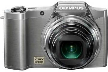 Olympus SZ-14 digital camera, silver, front view