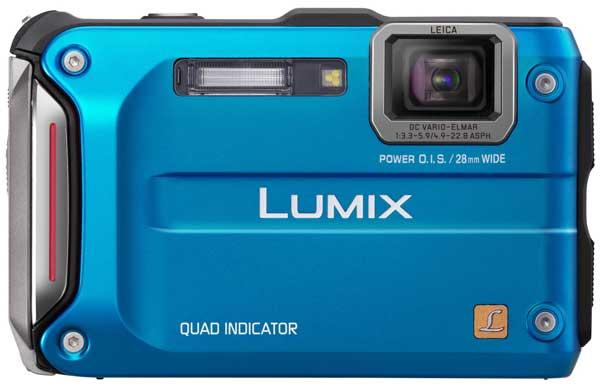 blue Panasonic DMC-FT4 digital camera, front
