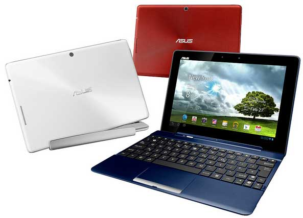 Asus Transformer Pad TF300T, available in blue, white and red